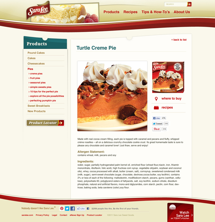 Sara Lee Deserts | Web Development St. Louis MO