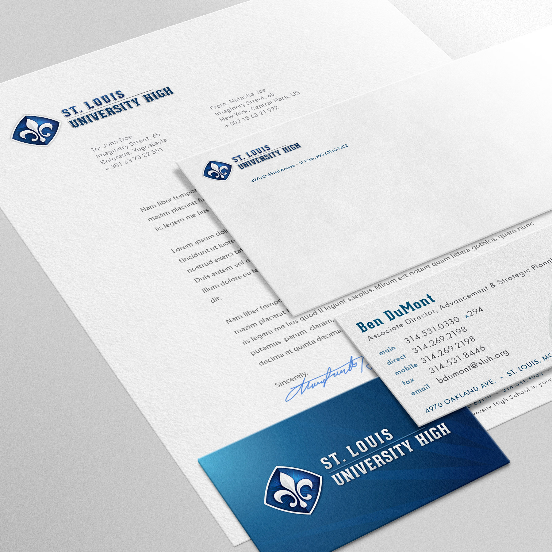 Graphic design, branding, Saint Louis University High, collateral