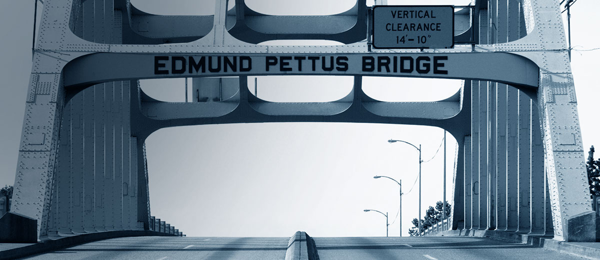 Photo of the Edmund Pettus Bridge, as featured on Jill Silverstien's modern legal website. This bridge has significant ties to the civil rights movement in Selma, Alabama.
