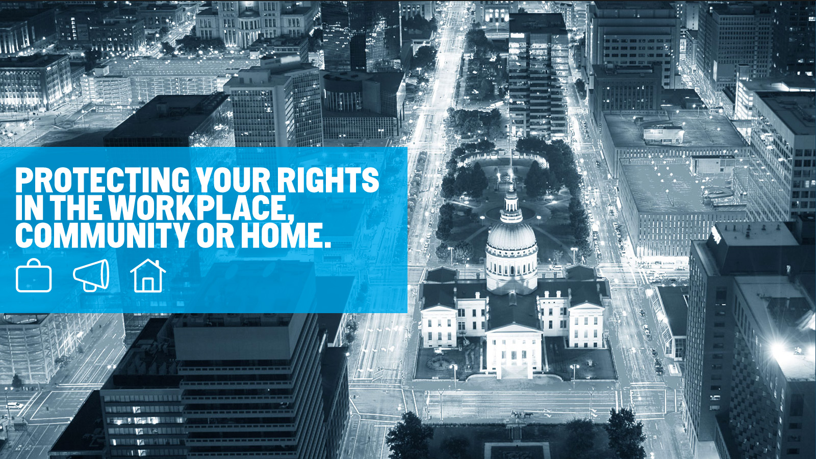 "Jill Silverstein's new website features sleek St. Louis city scape imagery on the homepage. Overlay text reads, ""Protecting your rights in the workplace, community or home."""