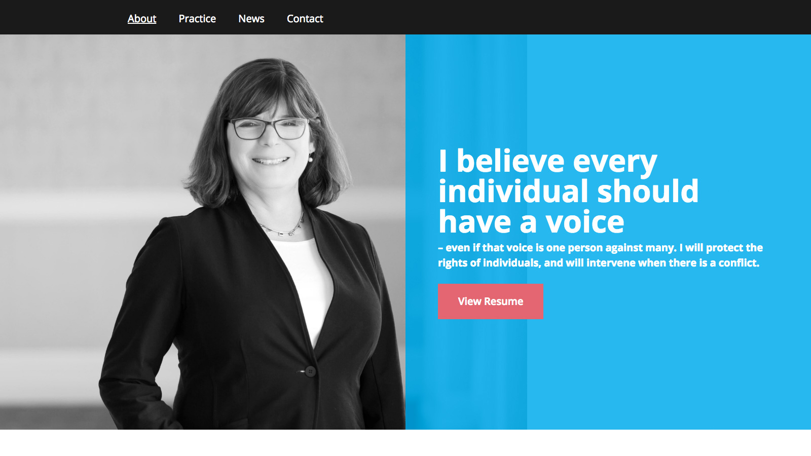 "Screenshot of Jill Silverstein's modern legal website. This image shows the About page, which features a personal quote from Jill: ""I believe every individual should have a voice."""