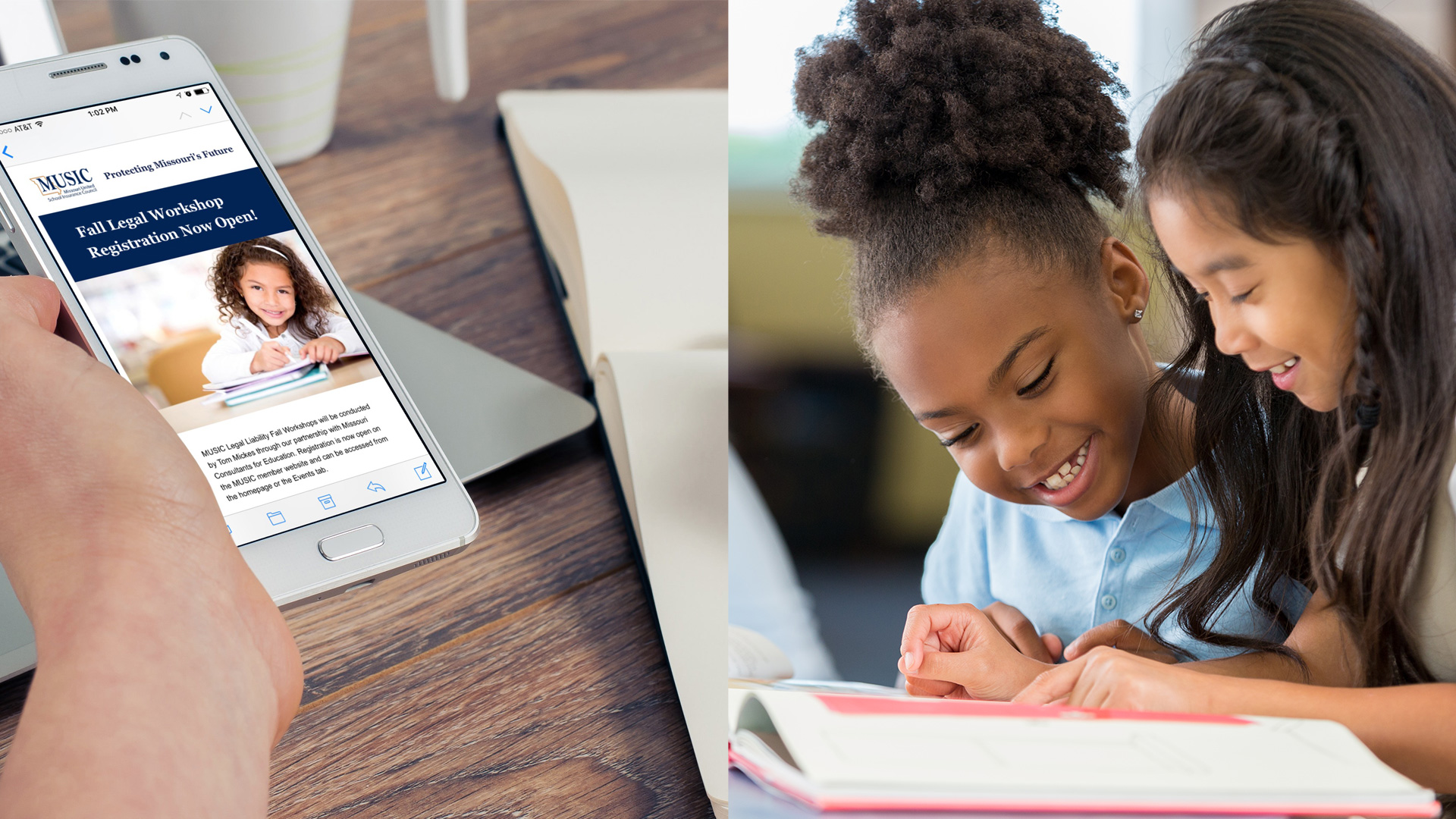 The new responsive website design for the MUSIC site works well on both desktop and mobile. Large images are featured throughout the site, including images that show the diversity of Missouri schools. Here, two young girls work on homework together.