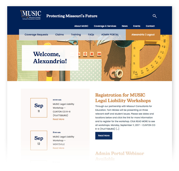 The member login homepage is the first page that a user will see after logging in, thanks to the Single Sign-On (SSO) integration. This page features everything a member needs, including upcoming events, recent news, and access to the administrator portal.
