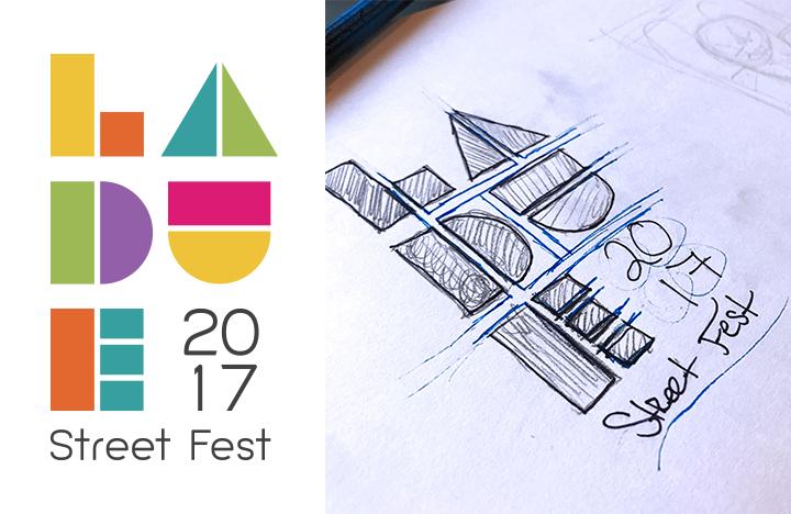 Illustration branding for the Ladue Street Fest, logo design