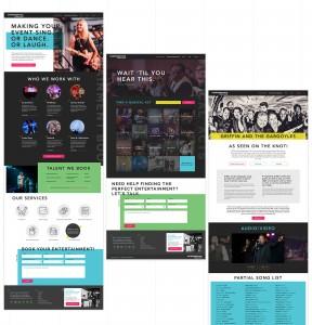 Each page on the site features a unique template that nods to entertainment publications.