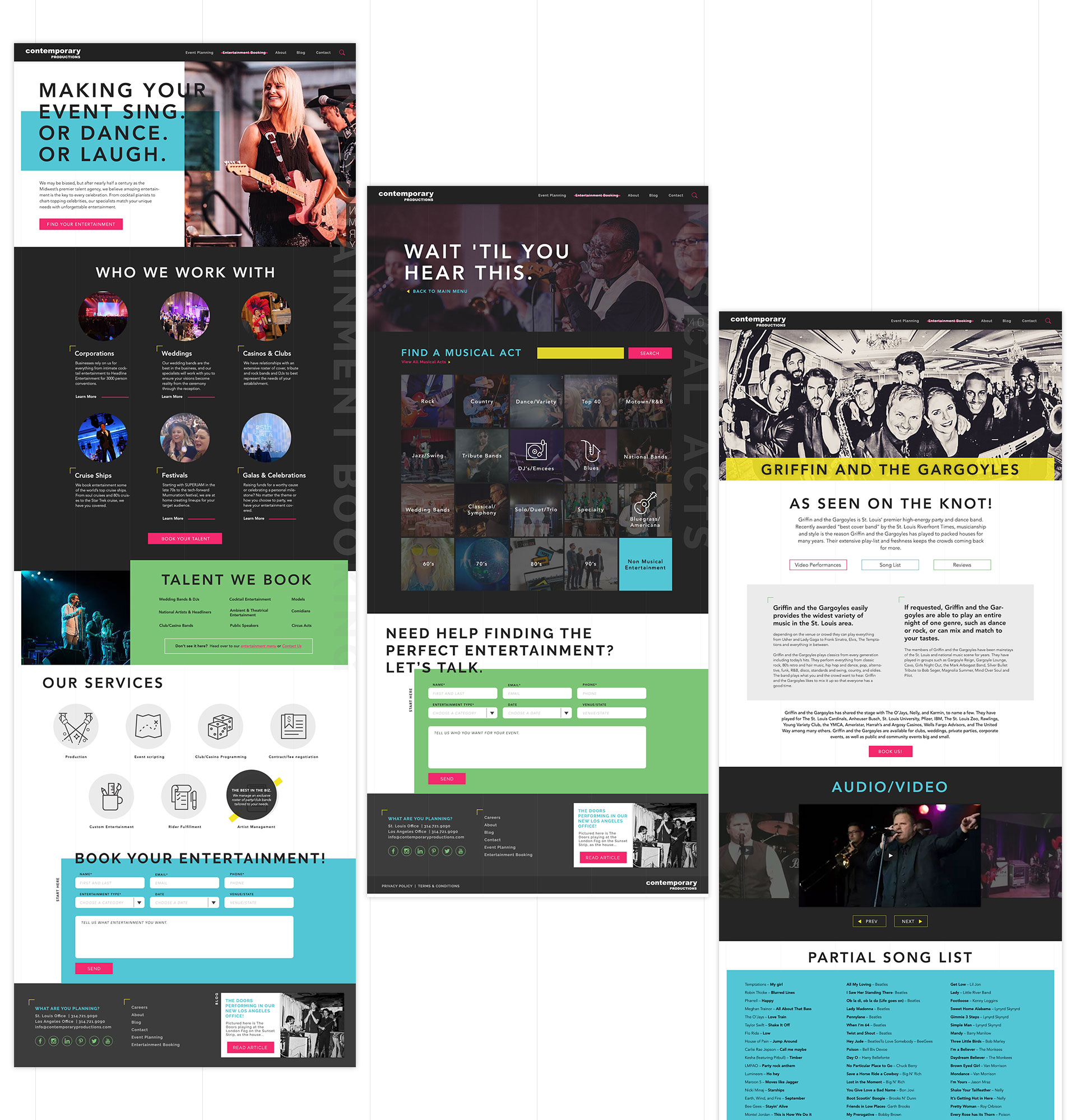 Each page on the site features a unique template that nods to entertainment publications.