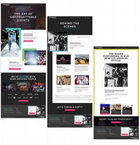 Each page on the Contemporary Productions website features a unique template that nods to the layout of entertainment publications.