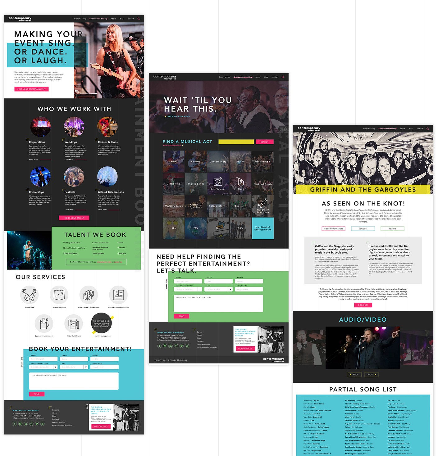For this entertainment booking website design, we took inspiration from large entertainment and rock-and-roll publications. The resulting design features bold accent colors, prominent headlines, and imagery that shows the life of the party.