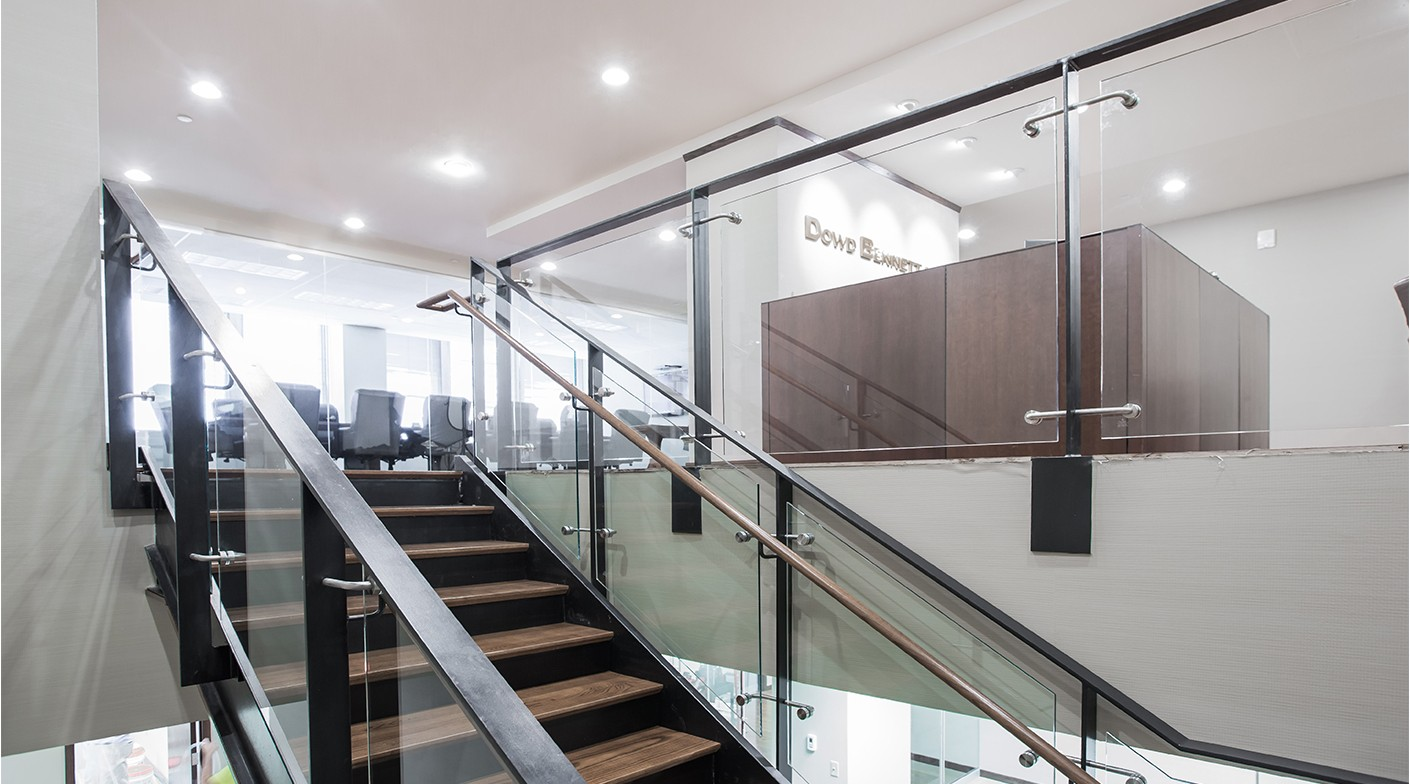 The Dowd Bennet office features open, airy, and modern architecture that was featured throughout their new website design.