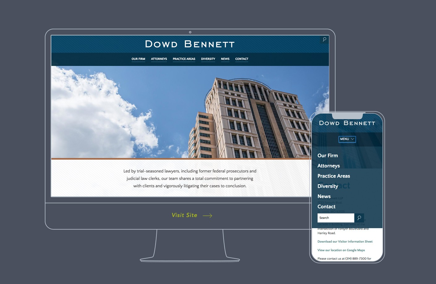 The new mobile-friendly, responsive web design for Dowd Bennett.