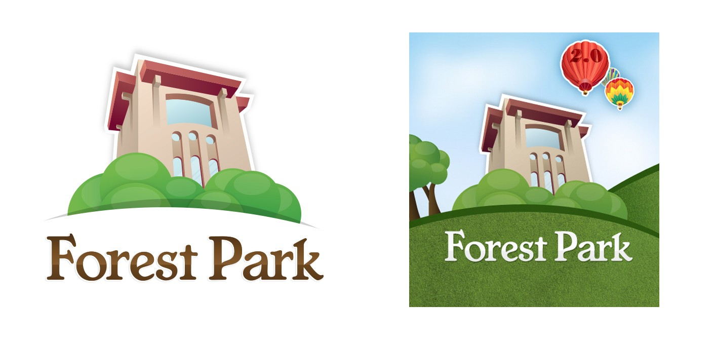 The Forest Park mobile app was available in the iOS app store, and we helped design the app's branding elements and logo.