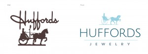 The original Huffords logo next to the redesigned logo by Paradigm.