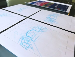 Initial sketches during the design process for the Ladue Street Fest poster design.