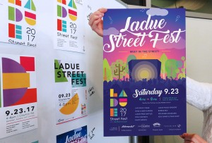 Our design process from the Ladue Street Fest poster, comparing the final product with several of the initial design concepts.