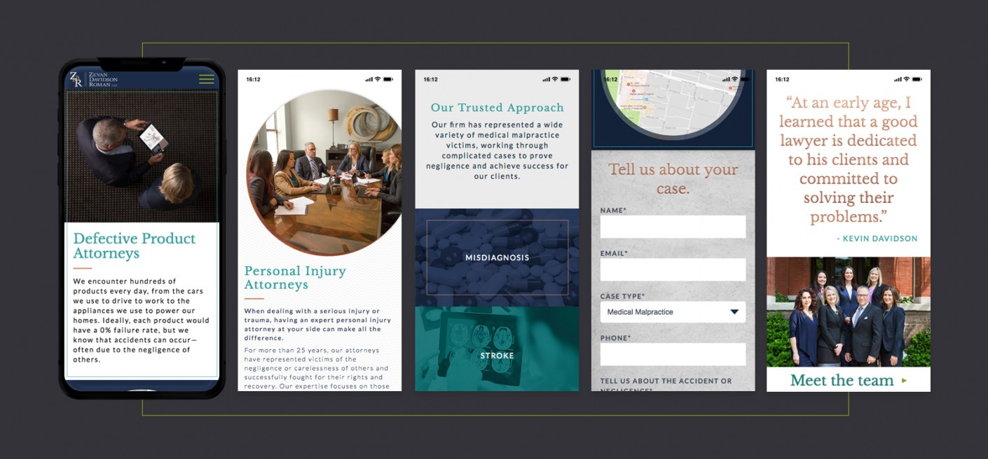 Mobile-first strategy was used for this law firm's website design and development.