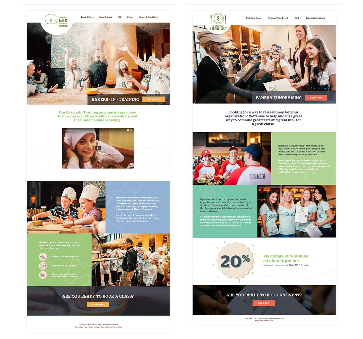 We designed two mobile responsive landing pages for Panera Bread Company to promote their Panera Fundraising and Bakers in Training events. The landing pages were developed to allow users to register for events, and it ties directly in with the web application that was developed to manage the events.