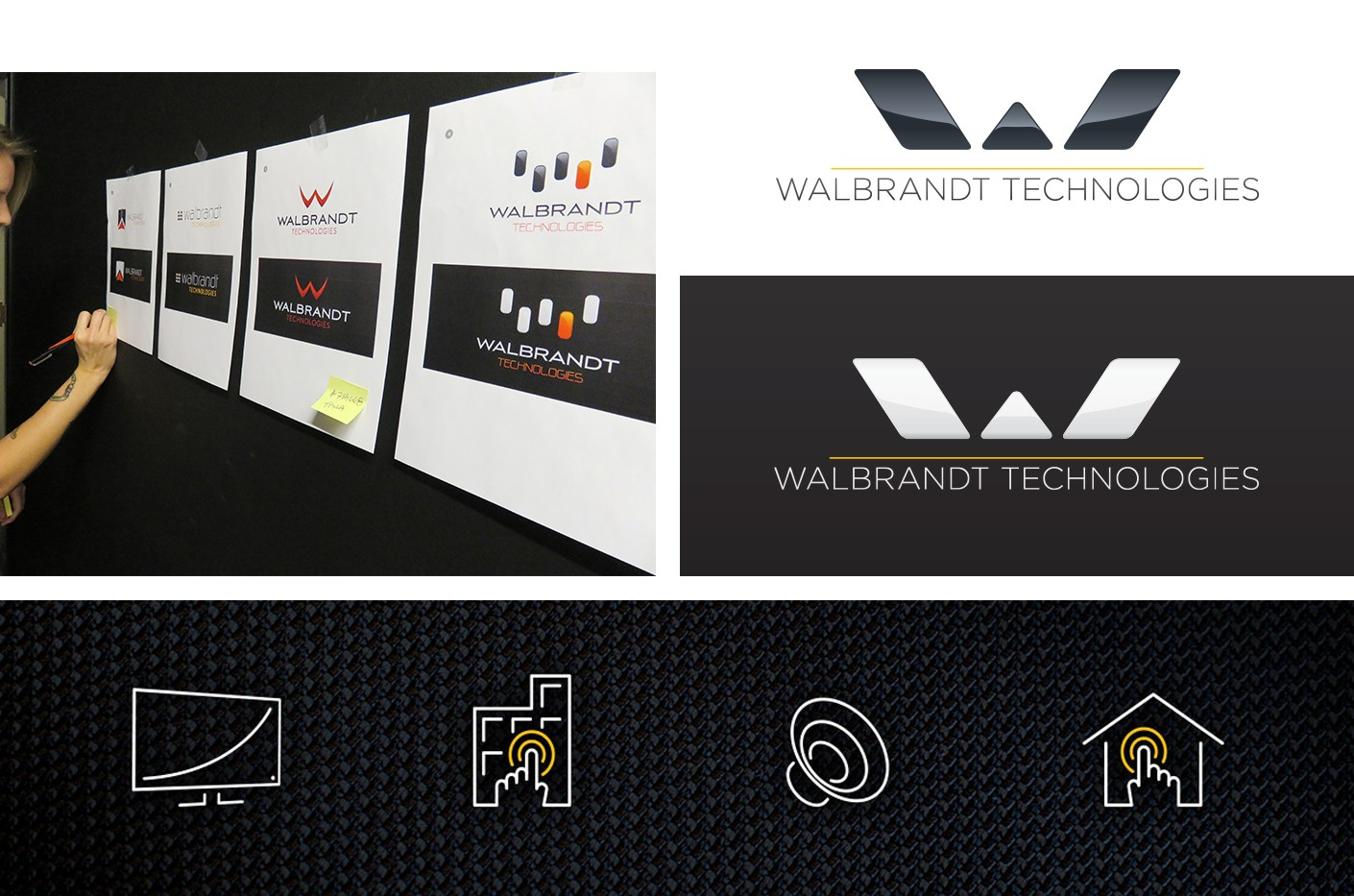 Our brand development process included designing iconology and environmental graphics for Walbrandt's showroom.