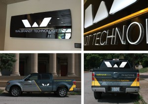 Environmental graphic design included designing signage for the showroom and designing truck wraps for the company vehicles.