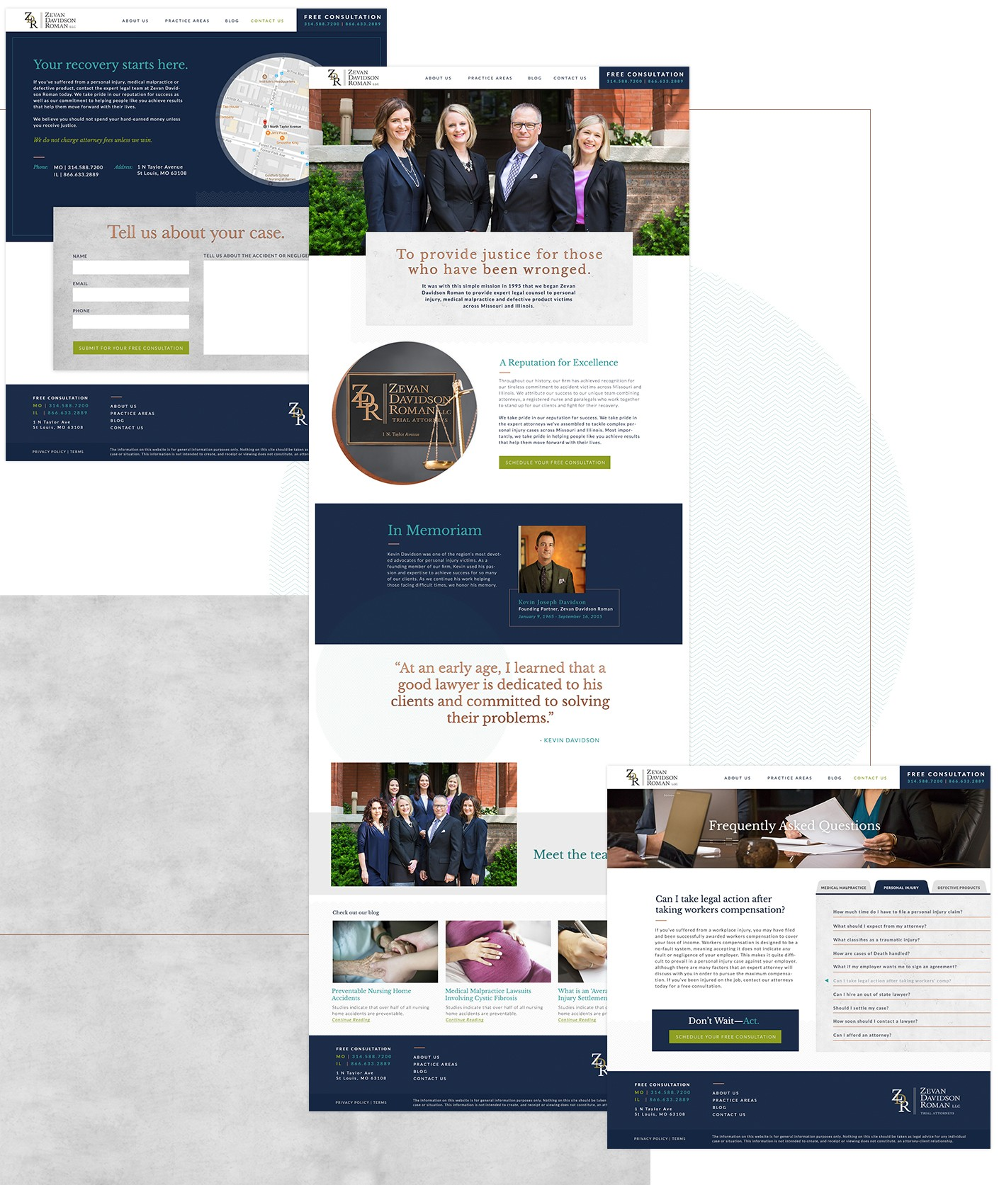 Our calls to action and lead qualification webforms were well considered for the new Zevan Davidson Roman legal website.