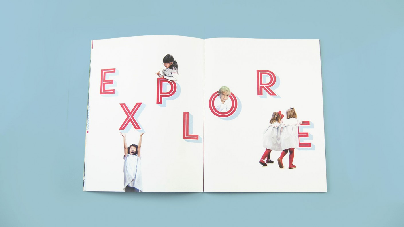 Graphic design in Visitation Academy's lower school focused on imagery emulating discovery and exploration.