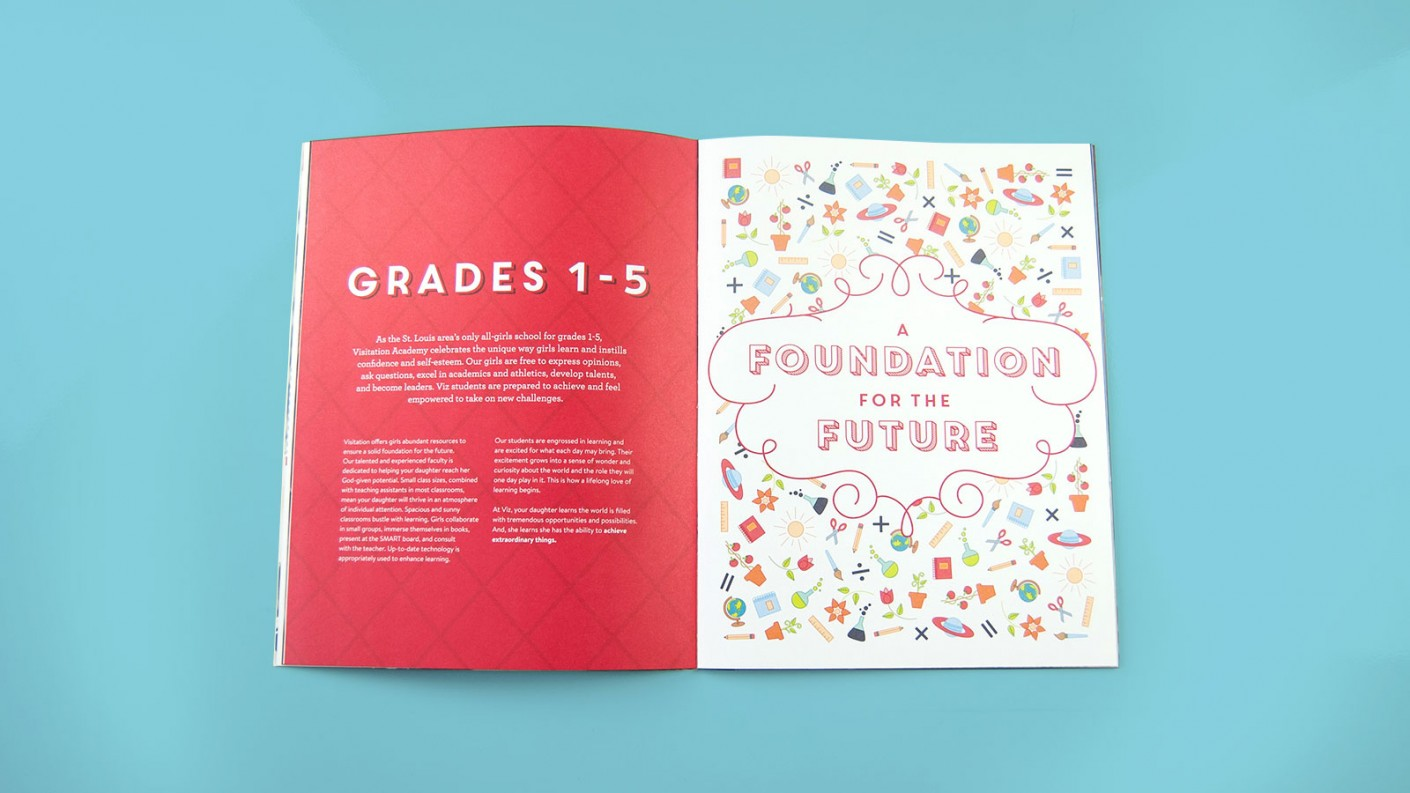 Each design element of the Visitation Academy viewbooks were carefully considered and thoughtfully designed.