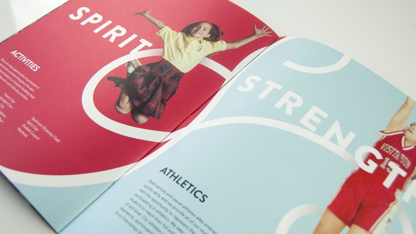 "Inspiring messaging featured in the middle school viewbook design included terms like ""Spirit"" and ""Strength."""