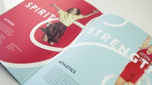 """Inspiring messaging featured in the middle school viewbook design included terms like """"Spirit"""" and """"Strength."""""""