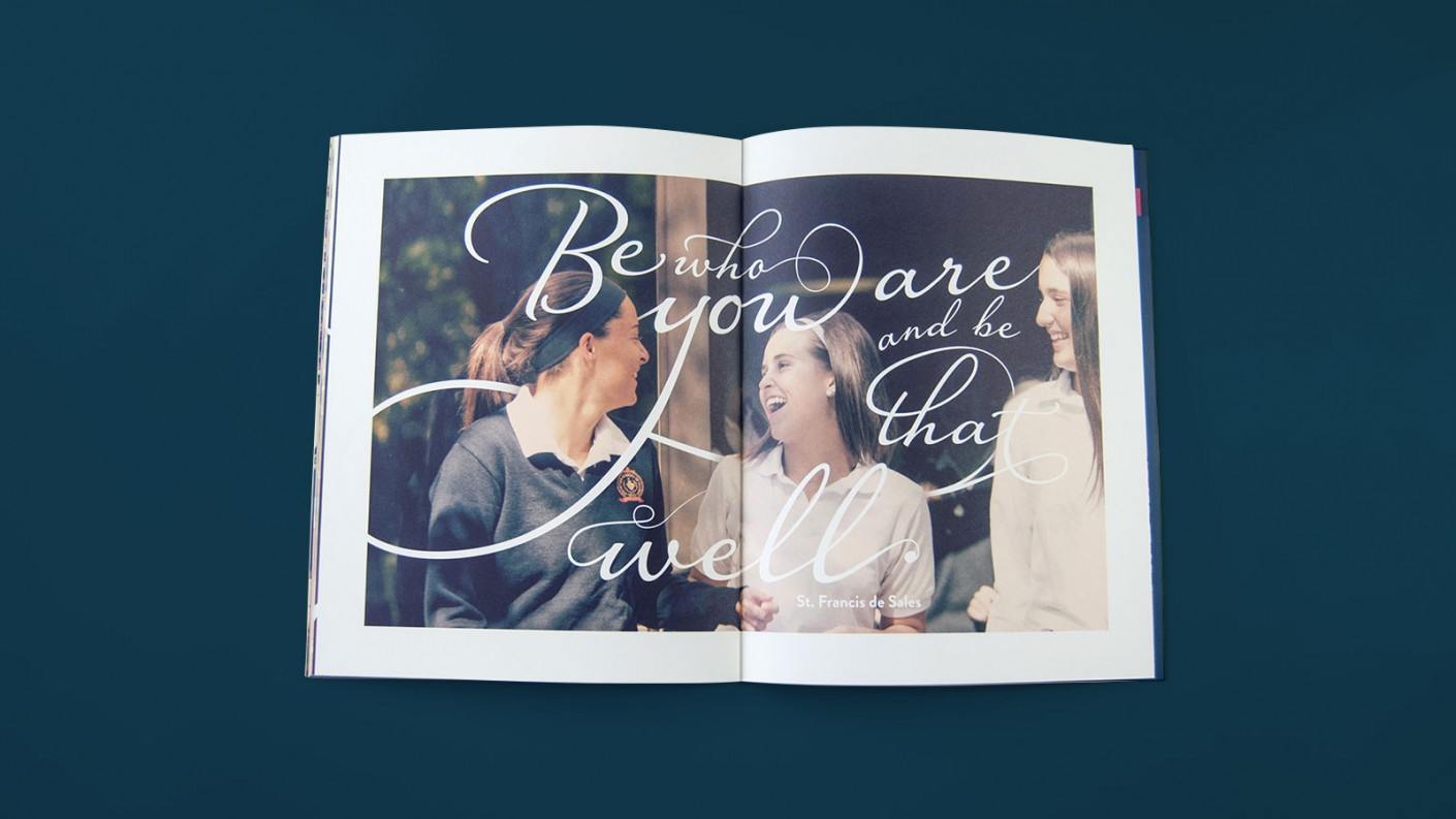 In the upper school viewbook design, we focus on inspiring imagery, encouraging young girls to be their true self.