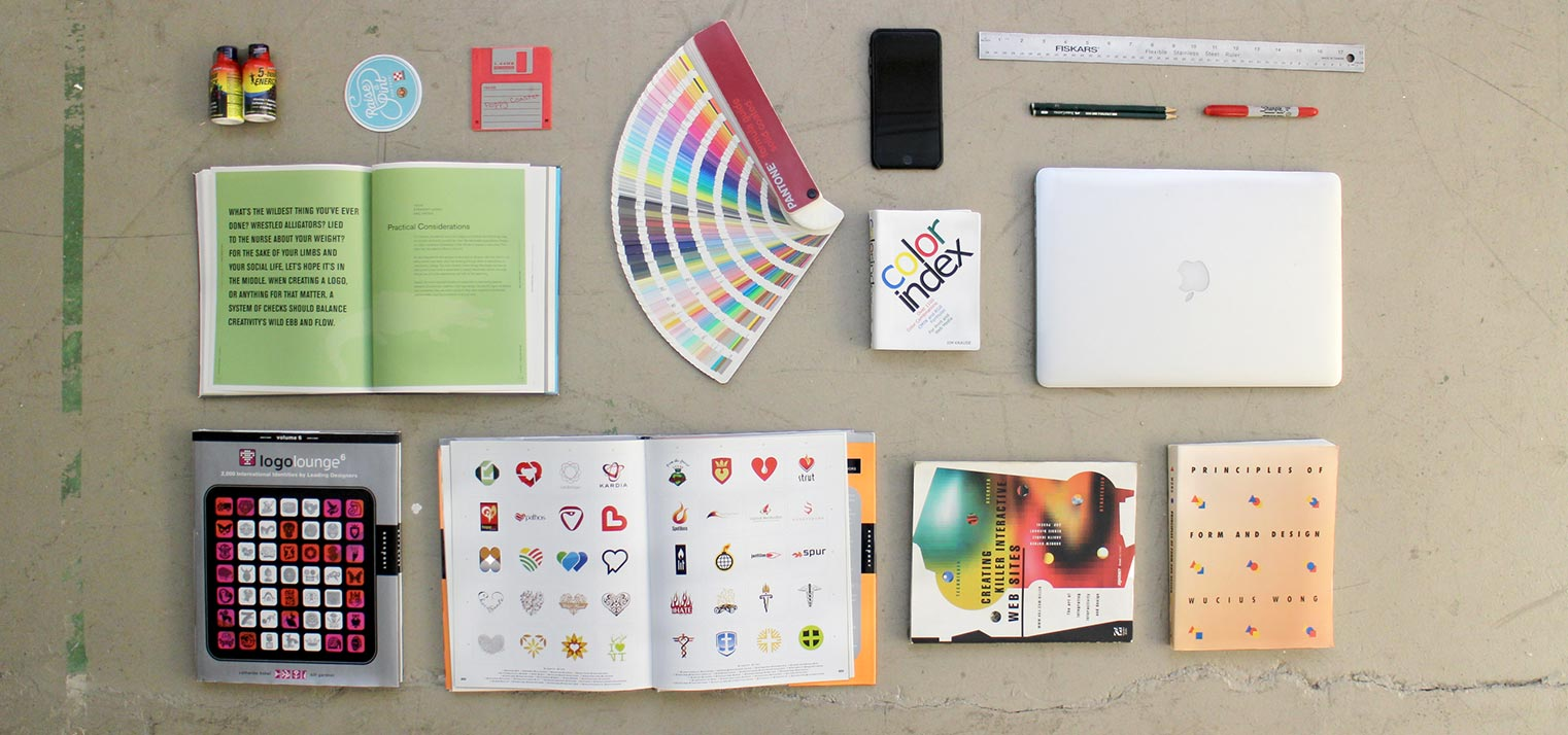 Tools of the trade at a digital marketing, branding, and web design firm.