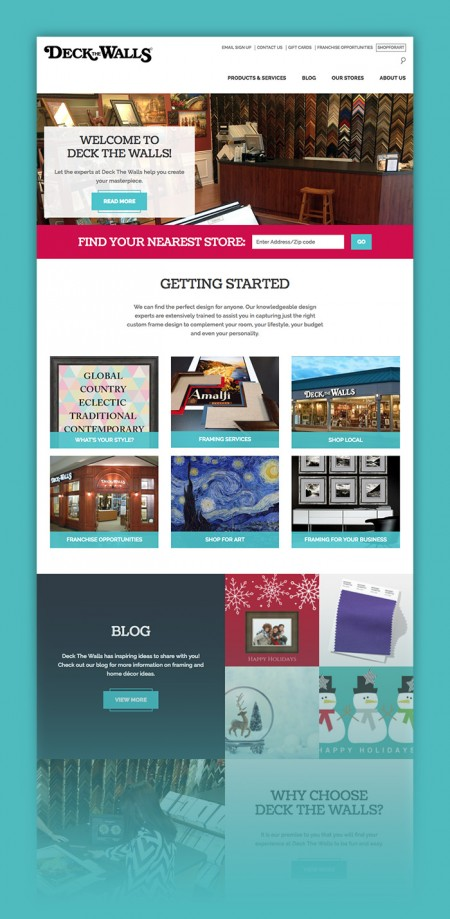 The microsite designs for The Great Frame Up, Deck the Walls, and The Framing & Art Centre featured distinct brand colors in each template and unique customizable content areas, where the personality of each franchise location can shine through.