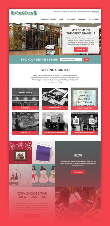 Three distinct microsite templates were designed and developed to meet the digital marketing needs of The Great Frame Up, Deck the Walls, and The Framing & Art Centre.