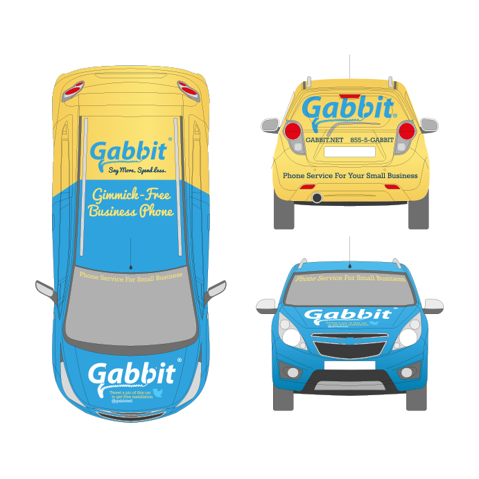 Gabbit car wrap graphic design