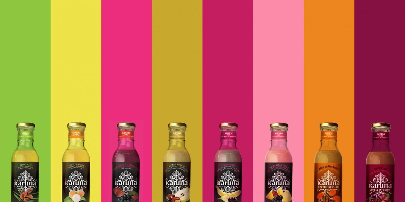 karuna flavors and bottle graphic design