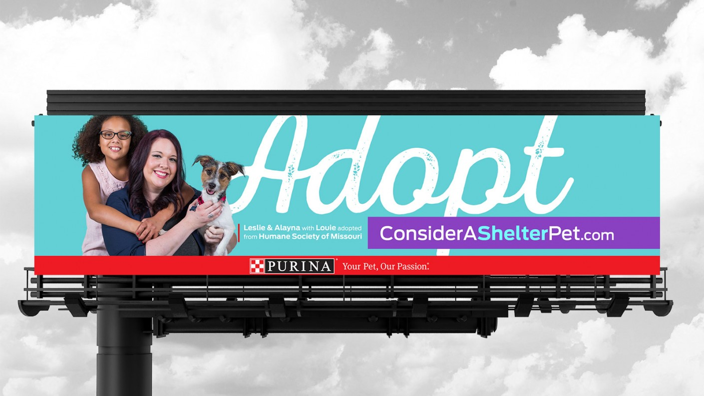 Our adoption campaign strategy featured billboard design, placed in key areas throughout the greater St. Louis area.