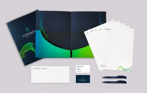 conway collateral system, documents, pens, business cards