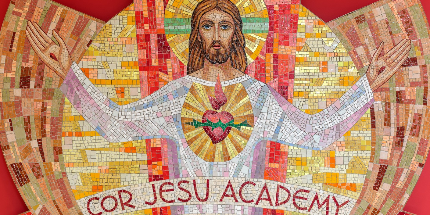 The mosaic that welcomes you to Cor Jesu Academy hangs in the school's lobby.