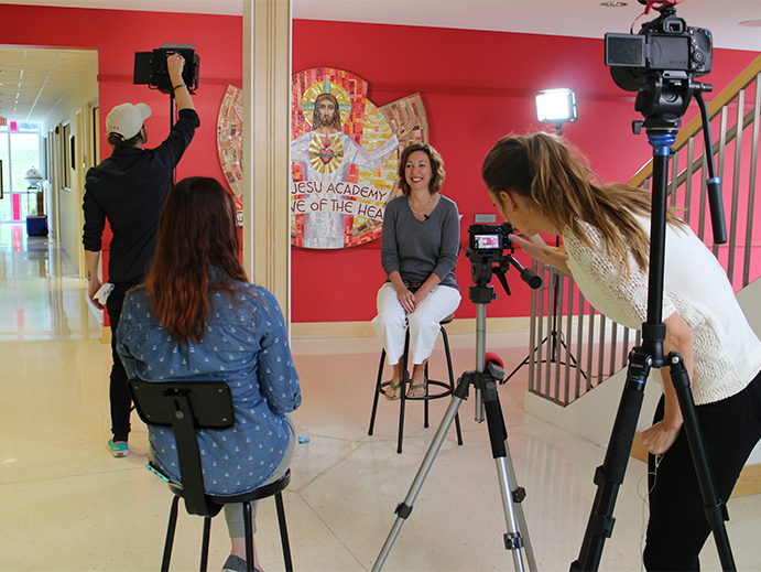On set at Cor Jesu Academy, while interviewing Kathleen Pottinger for the Cor Jesu videos.