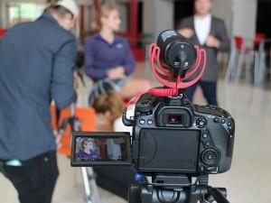 On set during the Cor Jesu Academy video shoot.
