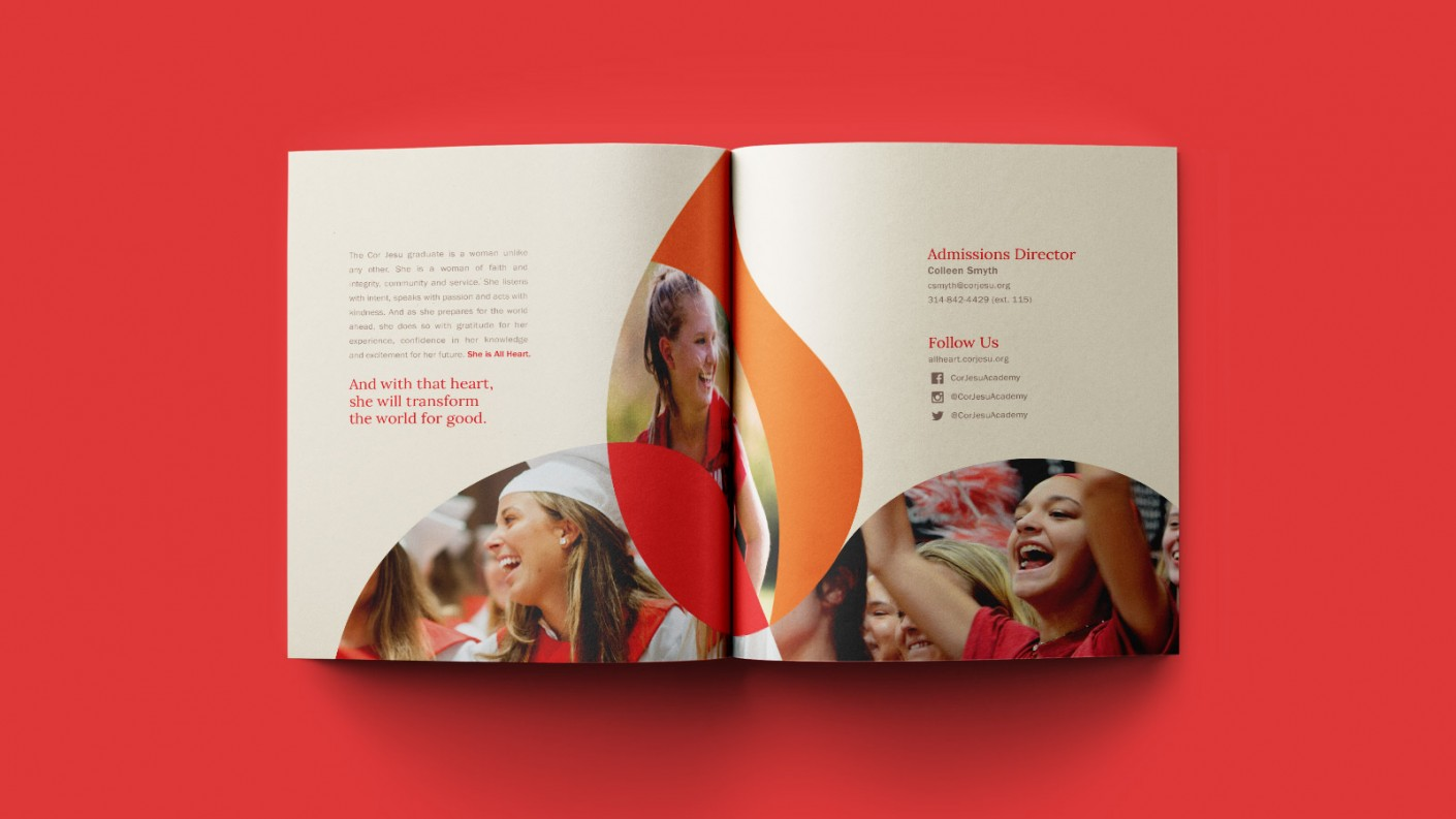 Interior shot of the Cor Jesu viewbook. The book features calls to action, leading readers to learn more on the All Heart microsite.