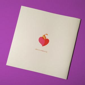 The back of the Cor Jesu viewbook features the All Heart logo, a clever reveal at the end of an exploration of shapes throughout.