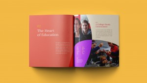 Interior shot of the Cor Jesu viewbook. The Hear of Education.
