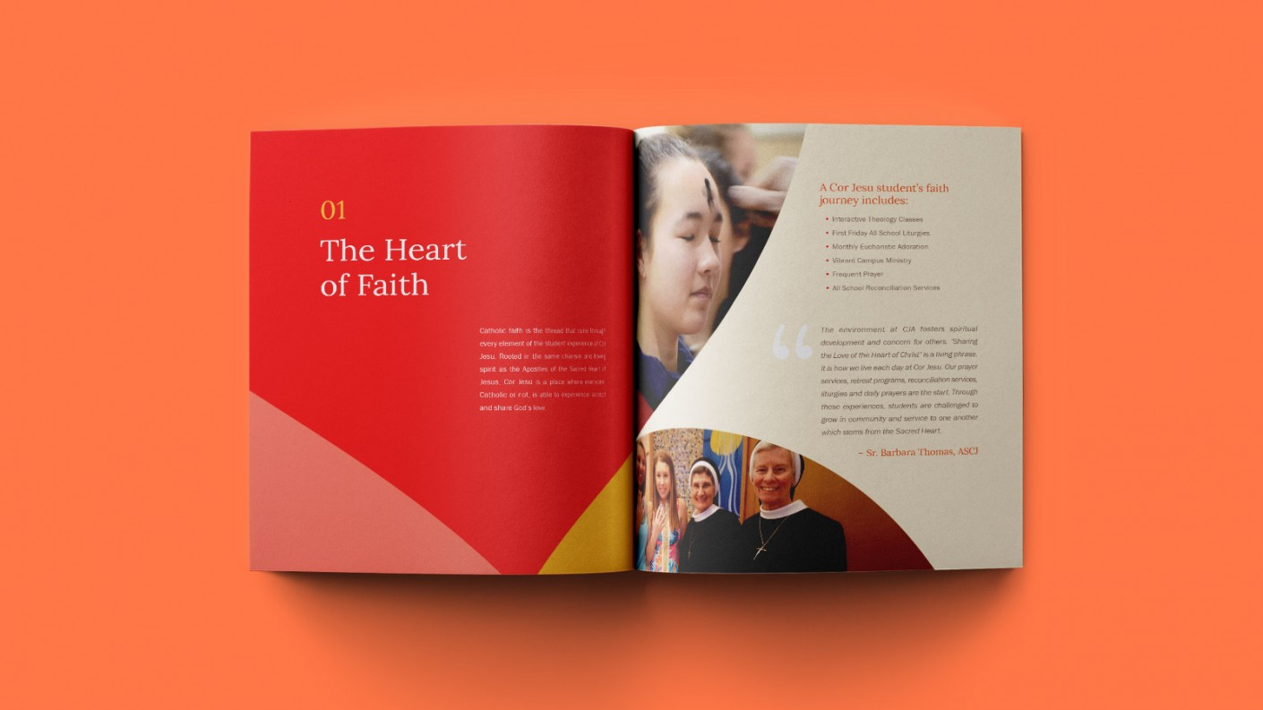 Interior shot of the Cor Jesu viewbook: The Heart of Faith.