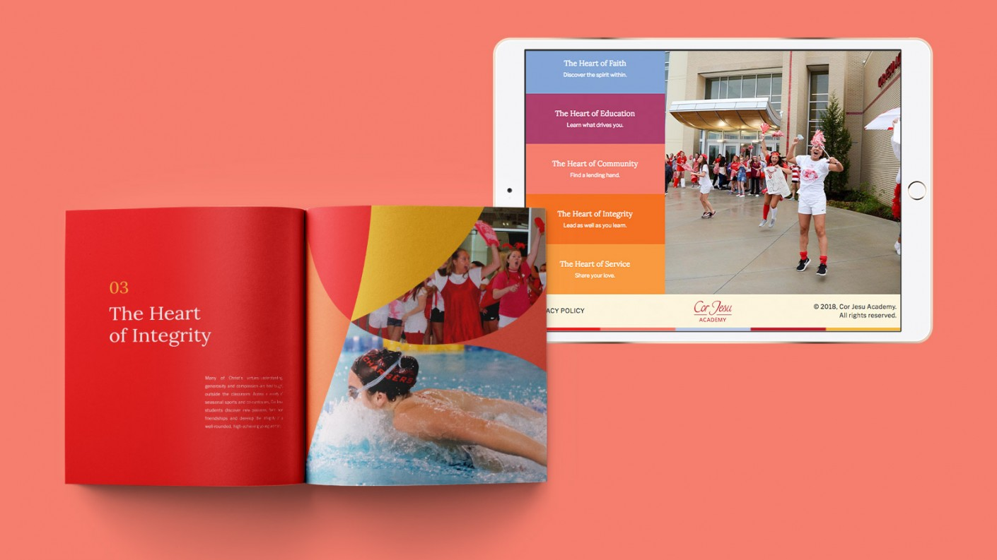 Paradigm designed a printed viewbook for Cor Jesu Academy that ties in with the microsite that we designed and developed for additional lead generation.