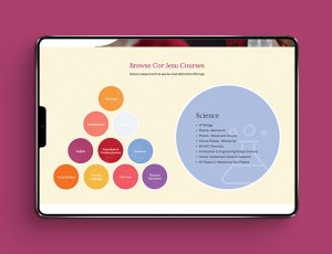 The Cor Jesu microsite features interactive graphics that keep users engaged while allowing them to learn and explore.