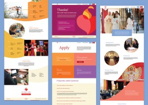 Pages from the Cor Jesu microsite feature a dynamic and customizable layout.