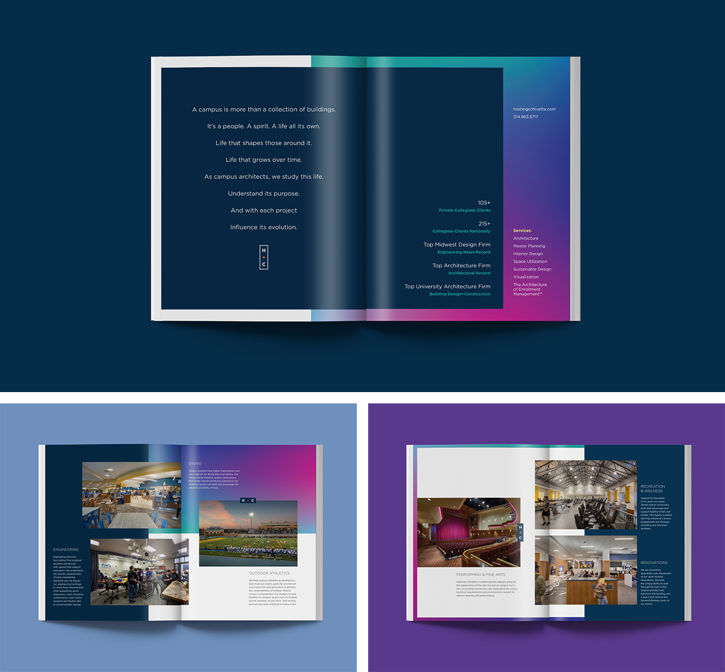 The redesigned Hastings + Chivetta brochure highlights the core services and project types that the firm takes on.