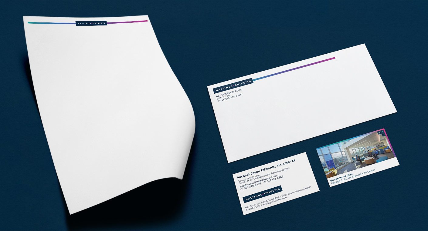 A new set of brand collateral, featuring letterhead, buisness cards, and envelopes, bring in the heat map gradients, while boasting a clean layout.