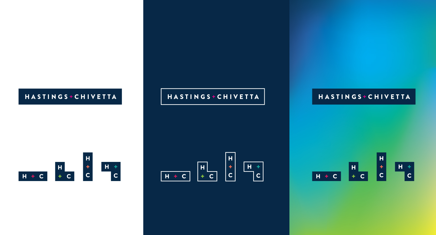 Hastings+Chivetta's new brand identity system includes variants of their logo that act as building blocks.