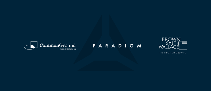 Common Ground Public Relations, Paradigm, and Brown Smith Wallace all written in line with each other with triangle logo being them.