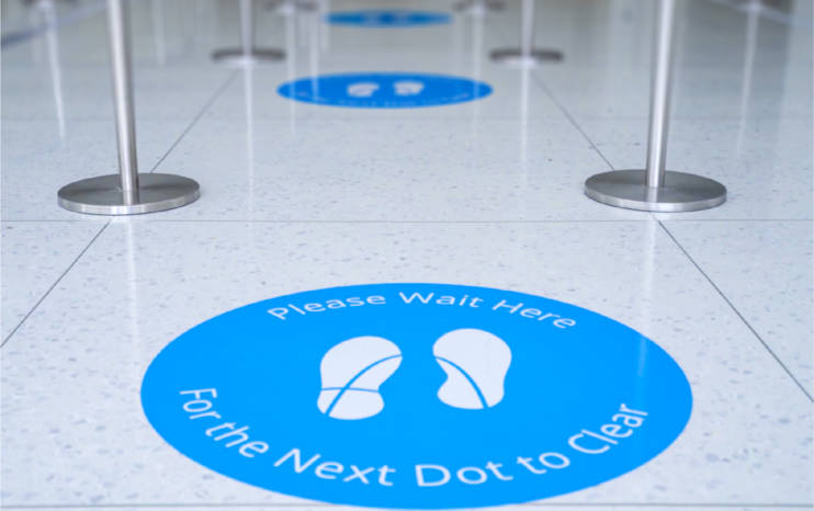 We recently created floor markers to help with wayfinding and social distancing at the Gateway Arch